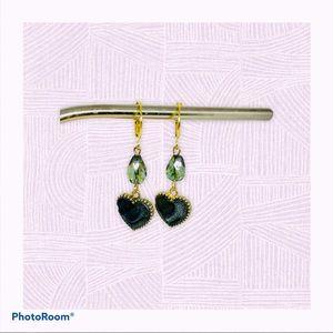 Green Czech Glass Earrings, Heart Oil Drop Dangles